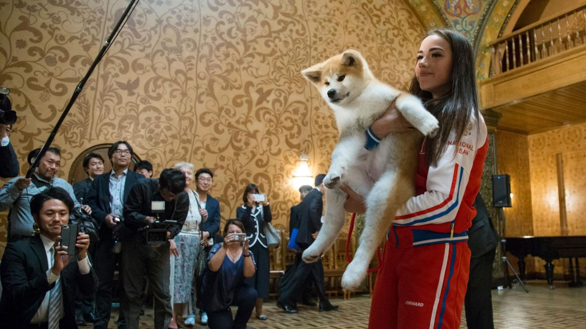 Алина Загитова и ее собака Масару