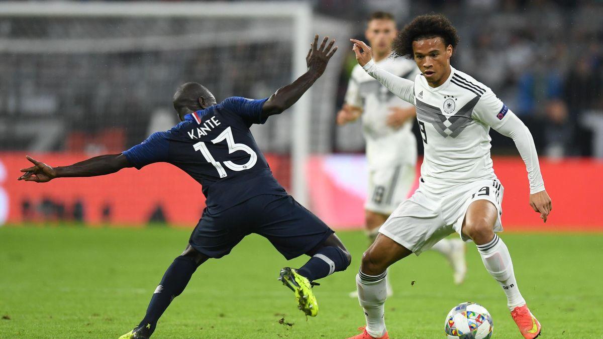 Leroy Sané (r.) im Zweikampf mit dem Franzosen N'Golo Kanté im Nations-League-Spiel 2018 in München