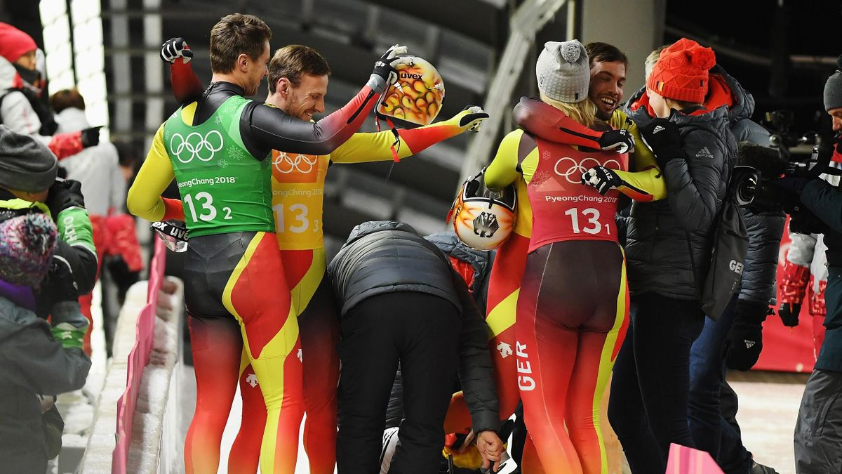 The German Luge team celebrate winning the Luge Team Relay on day six of the PyeongChang 2018 Winter Olympic Games at Olympic Sliding Centre on February 15, 2018 in Pyeongchang-gun, South Korea.