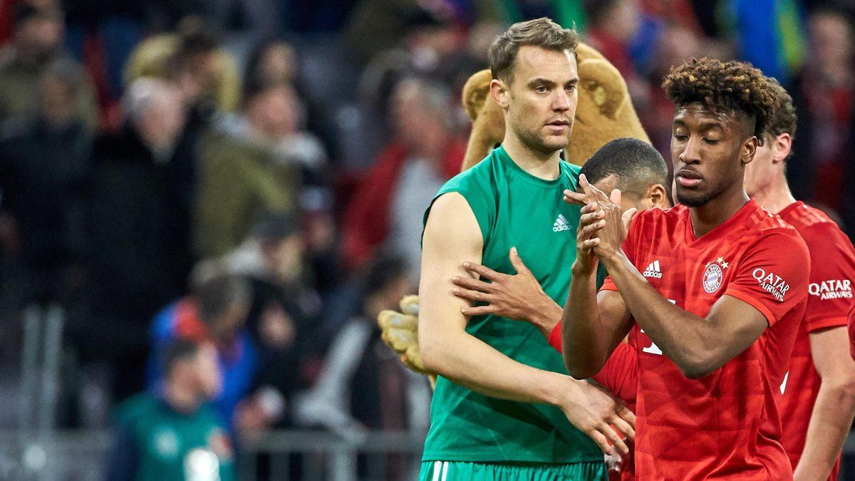 Manuel Neuer (l.) und Kingsley Coman (r.) vom FC Bayern