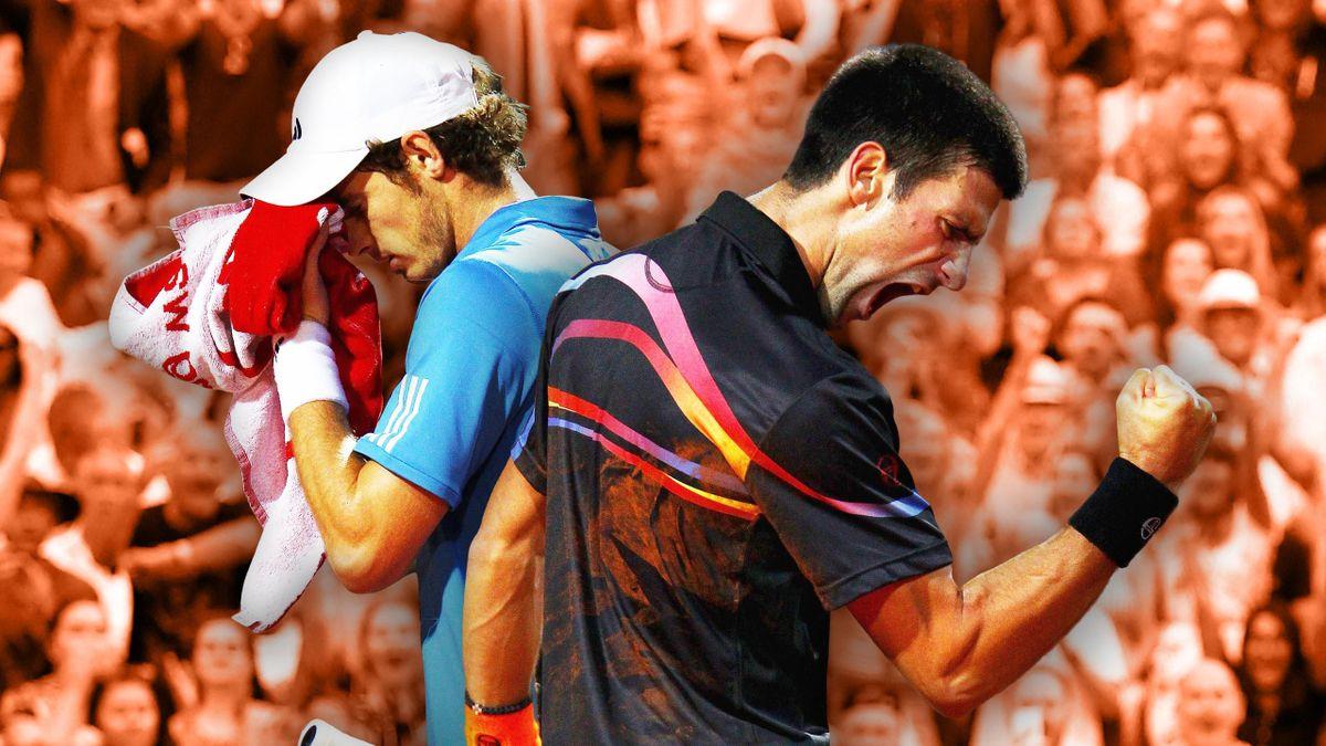 Andy Murray tête basse, Novak Djokovic poing serré... mais les rôles ont bien failli être inversés, lors de la demi-finale du Masters 1000 de Rome en 2011