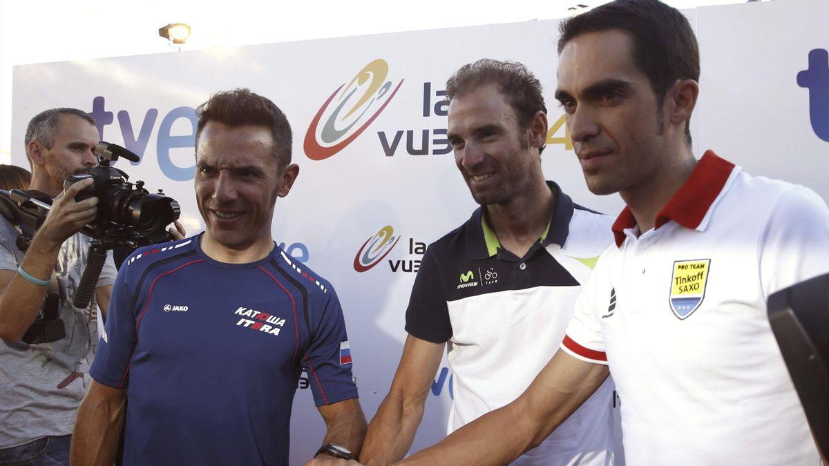 Purito Rodríguez, Alejandro Valverde y Alberto Contador