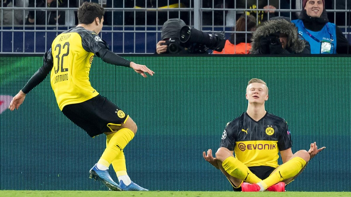Erling Haaland celebrates scoring against PSG