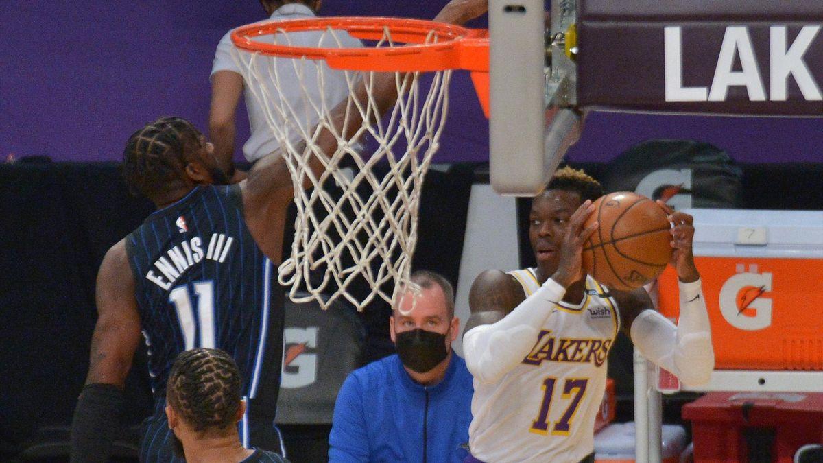 Lakers-Point-Guard Dennis Schröder im Spiel gegen die Orlando Magic