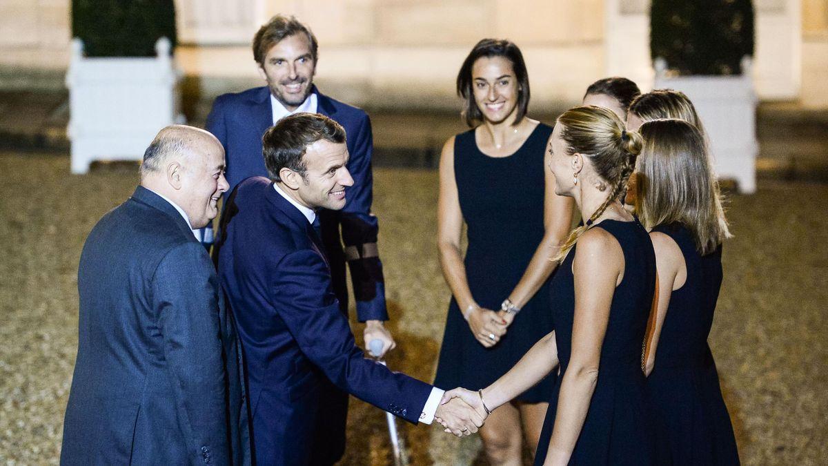 L'équipe de France de Fed Cup reçue à l'Elysée par le président de la République Emmanuel Macron
