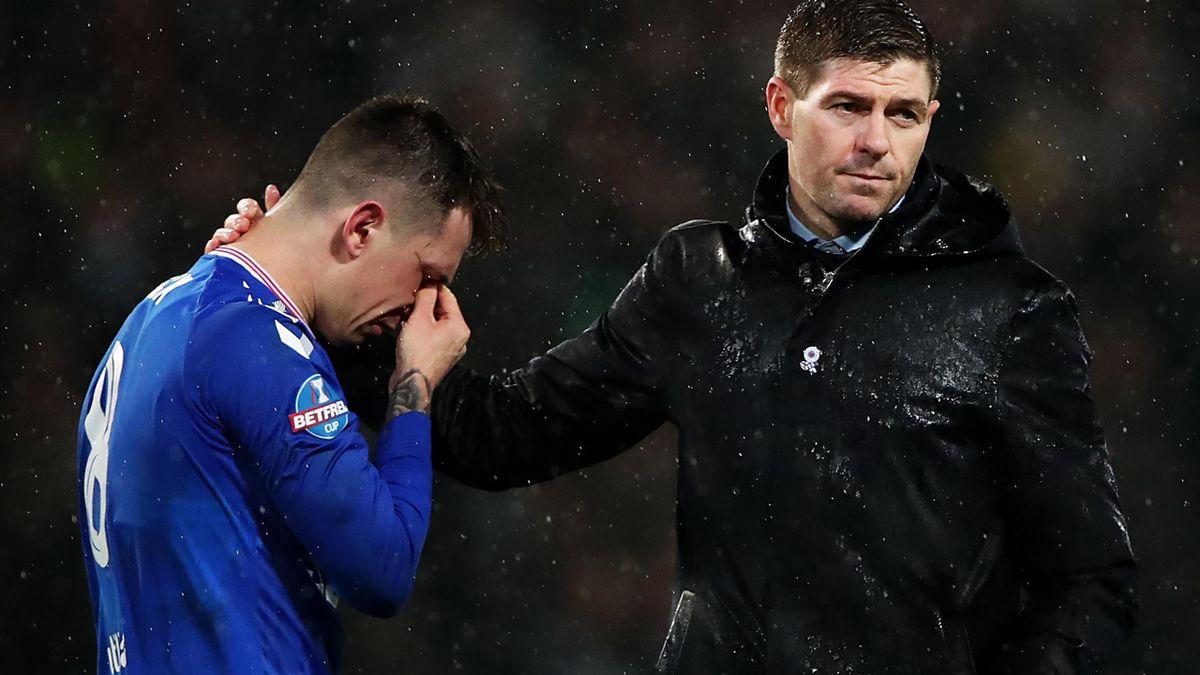 Steven Gerrard consoles Ryan Jack