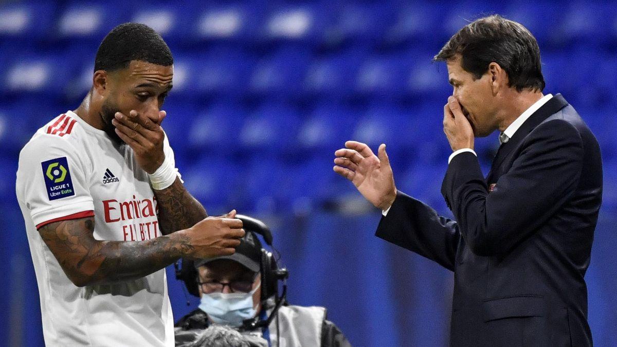 Memphis Depay et Rudi Garcia (OL) / Ligue 1