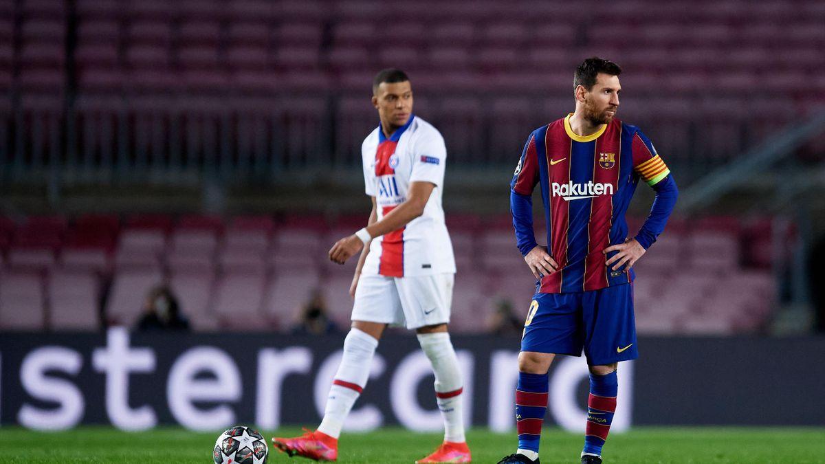 Mbappe e Messi durante Barcellona-PSG, Champions League 2020-21