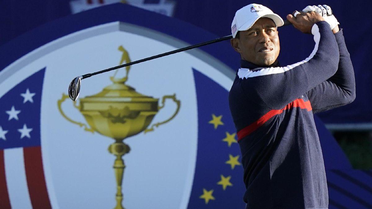 Tiger Woods à l'entraînement sur le Golf National.