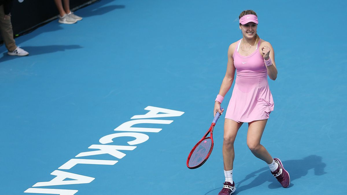 Eugenie Bouchard of Canada celebrates her win against Caroline Garcia of France during day three of the 2020 Women's ASB Classic at ASB Tennis Centre