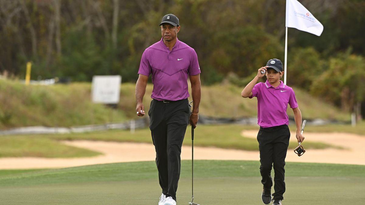 Tiger Woods (links) mit seinem Sohn Charlie in Orlando