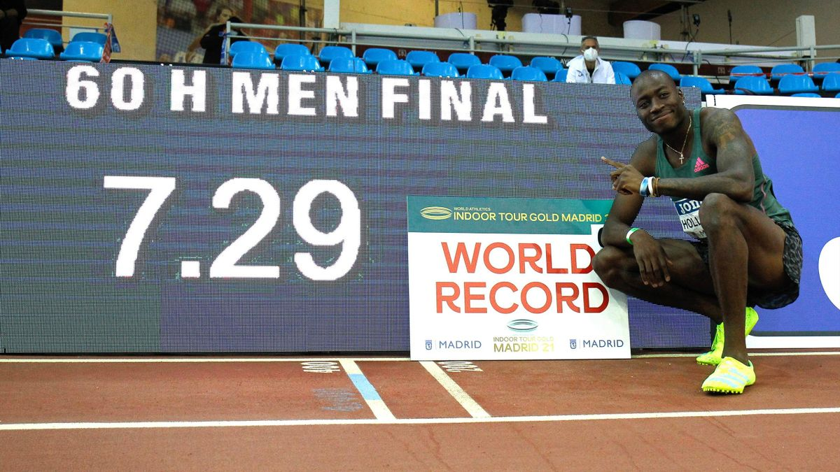 Grant Holloway - world record Men's 60m Hurdles Final - World Athletics Indoor Tour Gold Madrid 2021 - Getty Images
