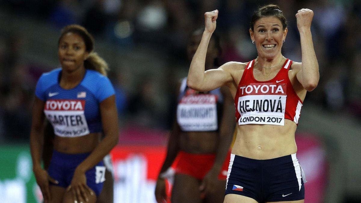 Zuzana Hejnova of the Czech Republic reacts after the heat.