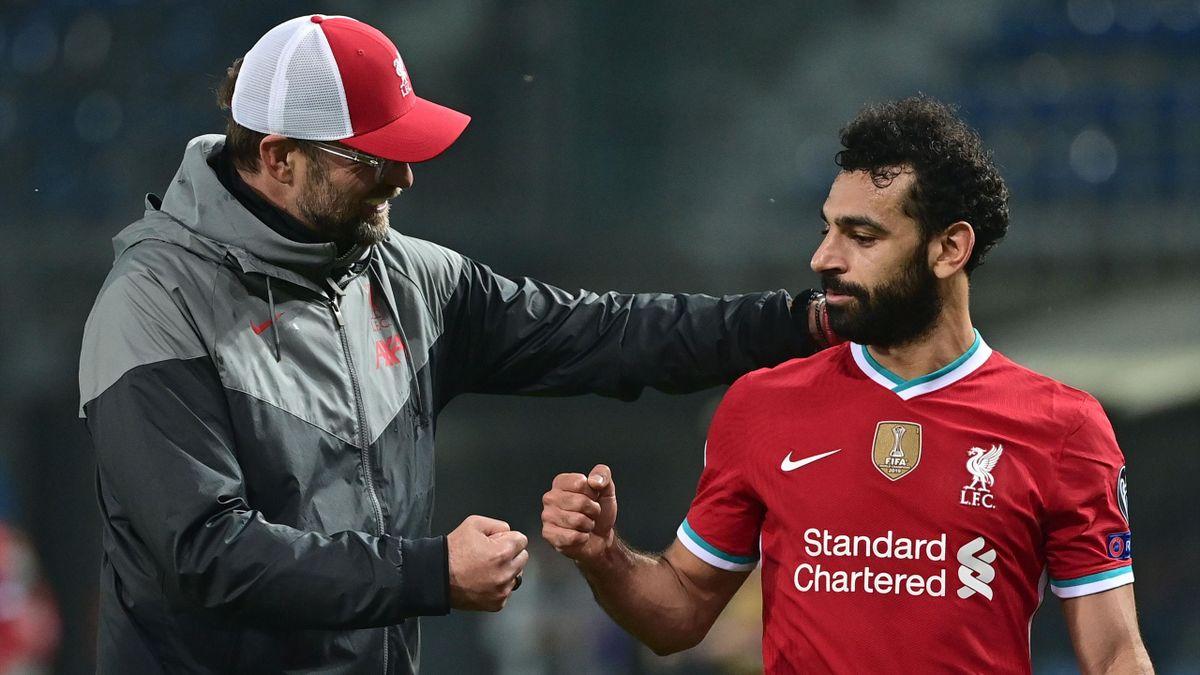 Jürgen Klopp et Mohamed Salah lors du match opposant l'Atalanta à Liverpool, le 3 novembre 2020, en Ligue des champions