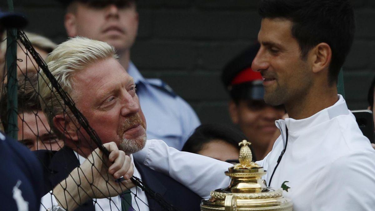 Boris Becker (l.) mit Novak Djokovic