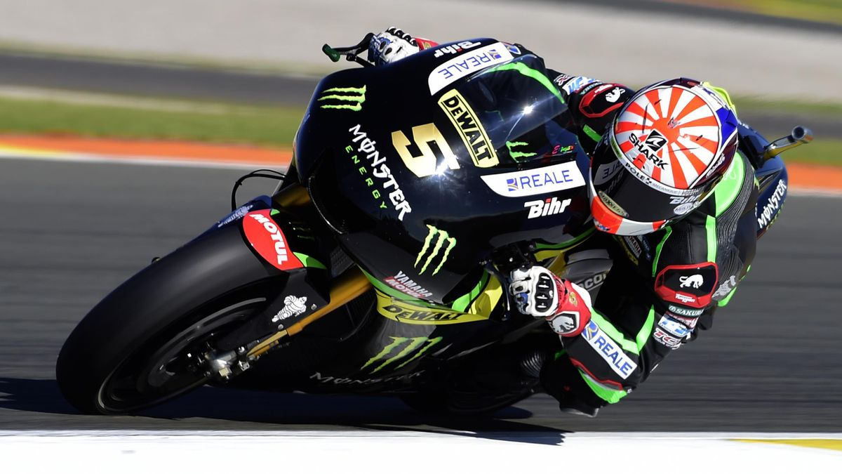 Monster Yamaha Tech 3 Team's French Johann Zarco rides during the Moto GP test days at the Ricardo Tormo racetrack in Cheste, on November 15, 2016