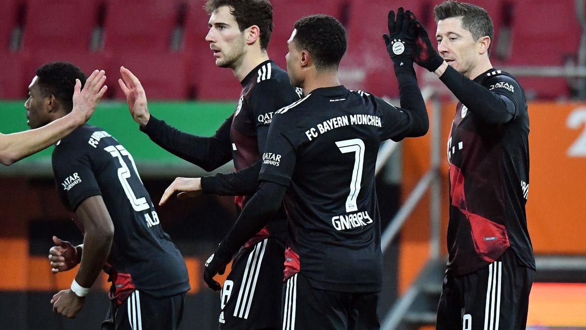L'esultanza dei giocatori del Bayern, Augusta-Bayern Monaco