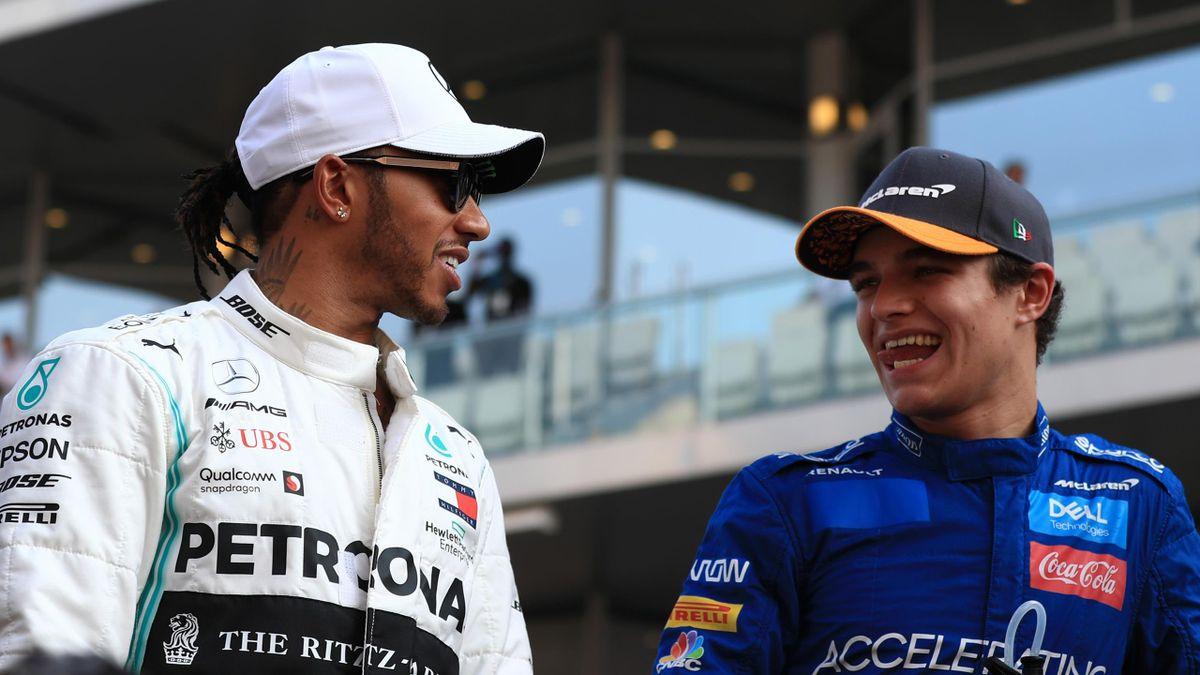 Briten unter sich: McLaren-Pilot Lando Norris (rechts) und Weltmeister Lewis Hamilton (Mercedes)