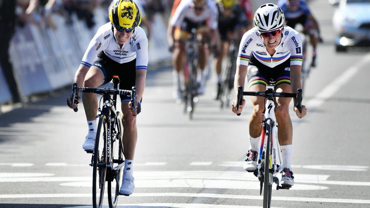 Elisabeth Armitstead (r.) gewann die 13. Flandern-Rundfahrt