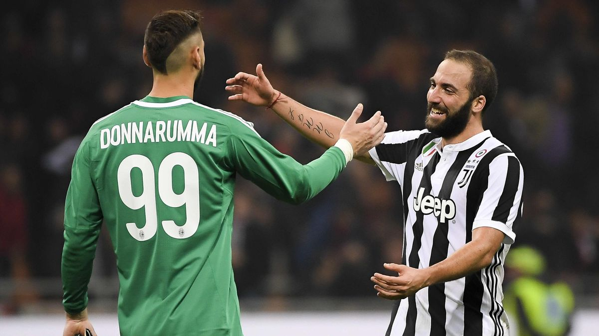 Gonzalo Higuain, Gianluigi Donnarumma, Milan-Juventus, Serie A 2017-2018, LaPresse