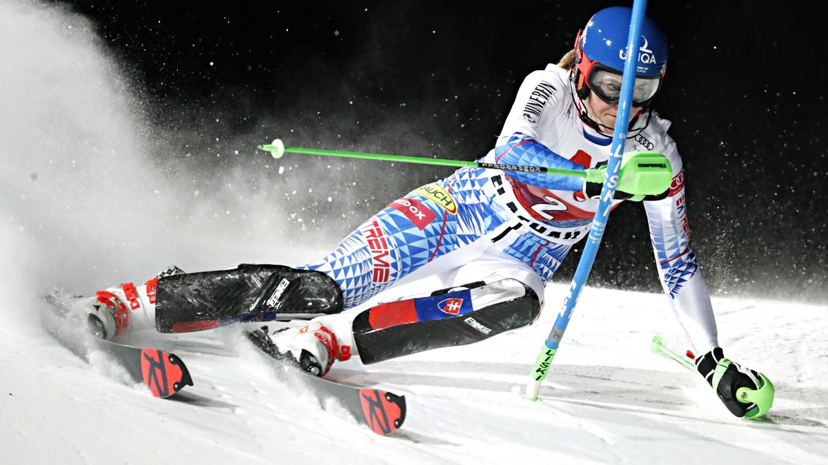 FLACHAU, AUSTRIA - JANUARY 14 : Petra Vlhova of Slovakia in action during the Audi FIS Alpine Ski World Cup Women's Slalom on January 14, 2020 in Flachau Austria. (Photo by Hans Bezard/Agence Zoom/Getty Images)