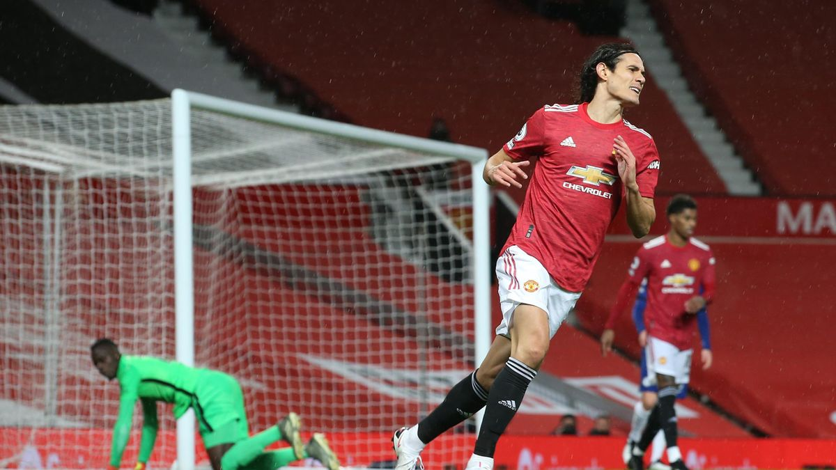 Edinson Cavani of Manchester United reacts to an early missed chance during the Premier League match between Manchester United and Chelsea at Old Trafford on October 24, 2020 in Manchester, England.
