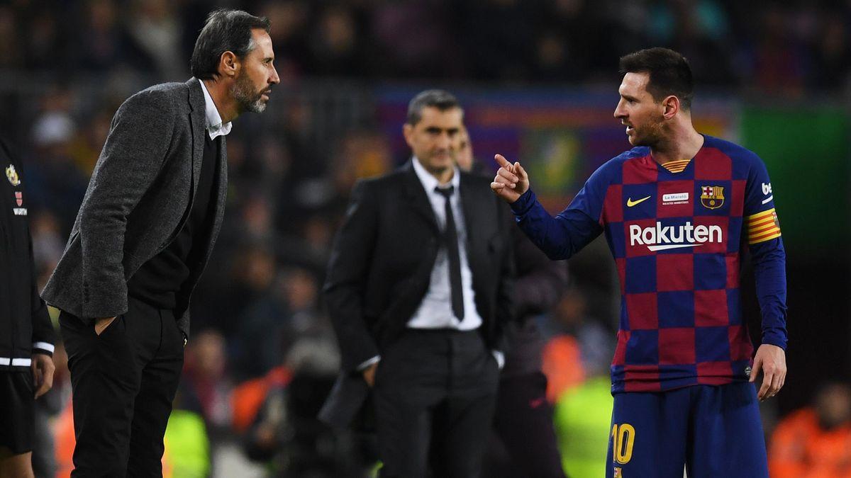 Vicente Moreno (Mallorca) și Leo Messi (Barcelona) au avut un conflict la partida tur