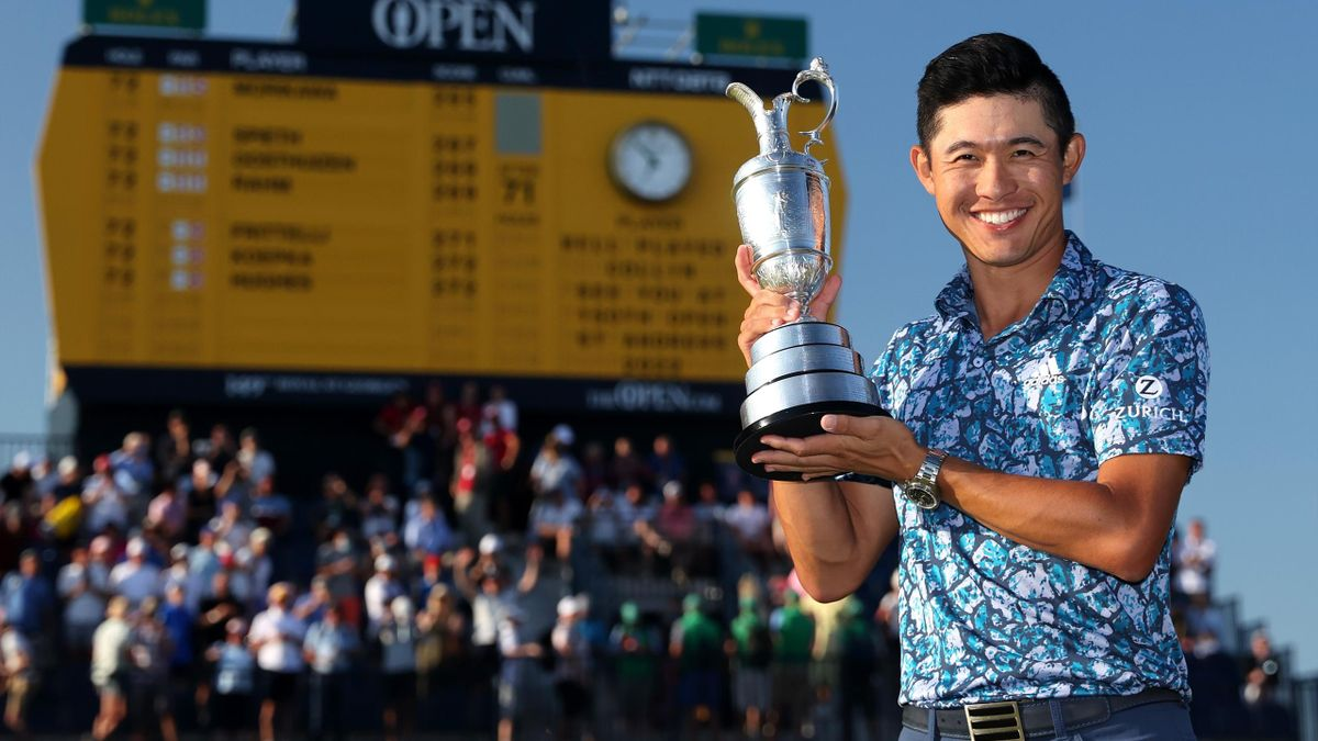 Open Champion, Collin Morikawa of United States poses with the Claret Jug on the 18th hole during Day Four of The 149th Open at Royal St George's Golf Club on July 18, 2021 in Sandwich, England.