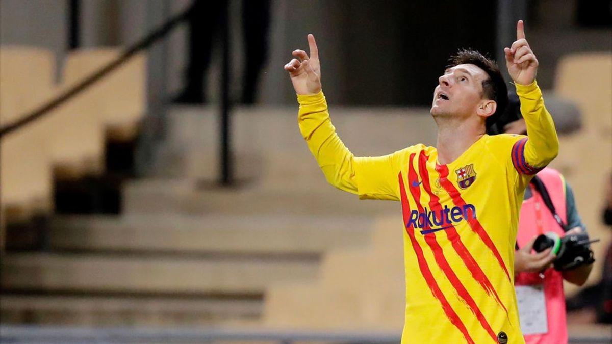Messi celebrando un gol en la final de Copa