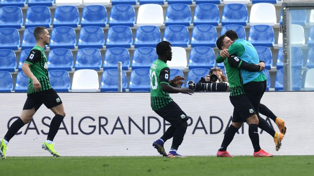 Raspadori esulta per il gol del pareggio in Sassuolo-Roma - Serie A 2020/2021 - Getty Images