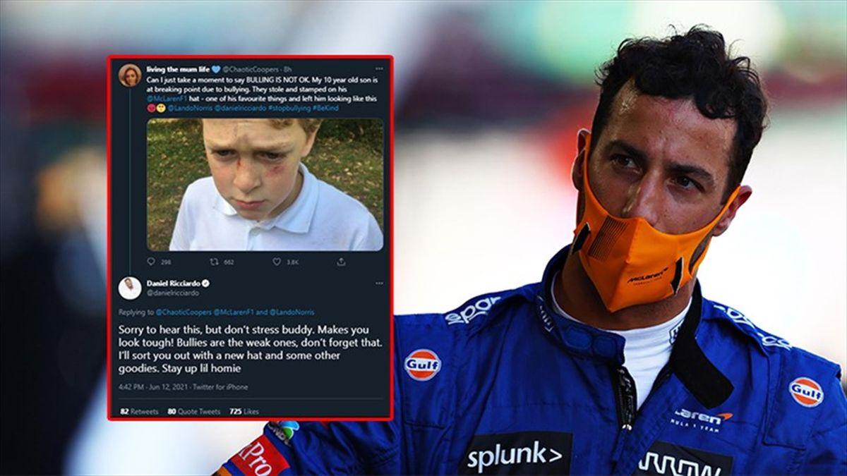 I bulli rubano il cappello McLaren, Ricciardo glielo regala