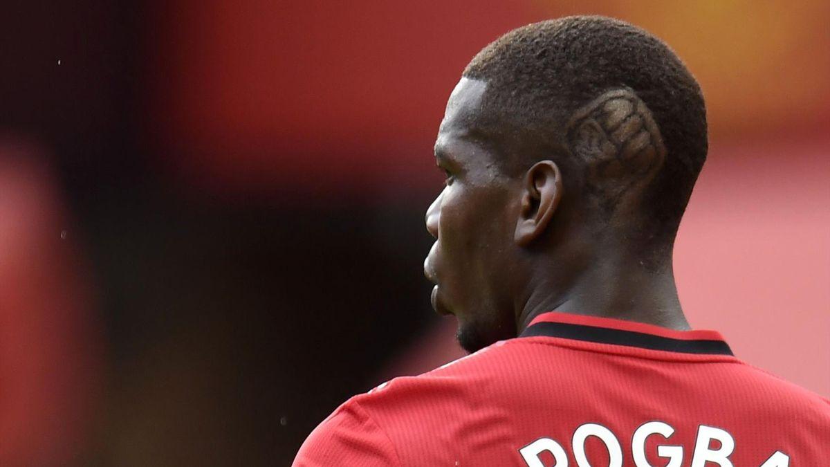 """Pogba et sa coupe de cheveux avec le symbole du mouvement """"Black Lives Matter""""."""