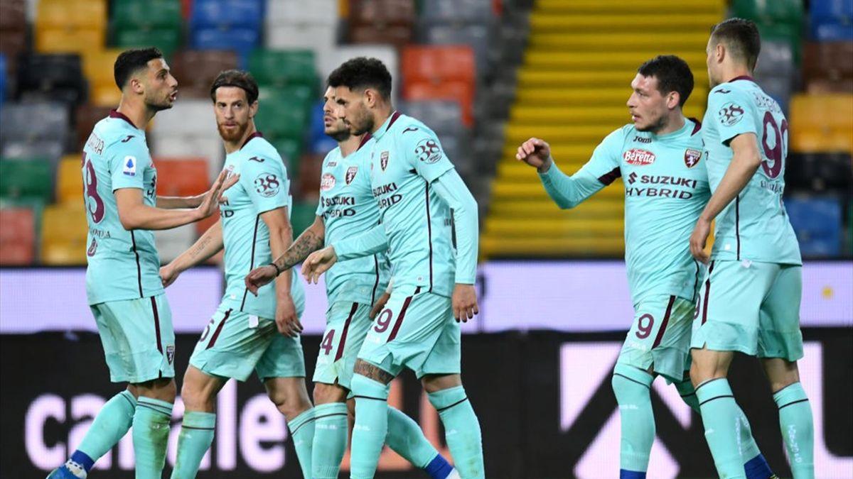 L'esultanza dei giocatori del Torino - Udinese-Torino Serie A 2020-21