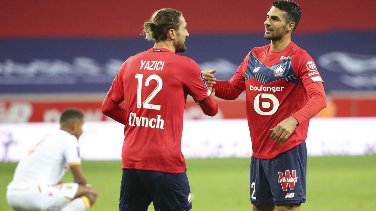 Yusuf Yazici et Zeki Celik lors de la victoire de Lille face à Lens (4-0).
