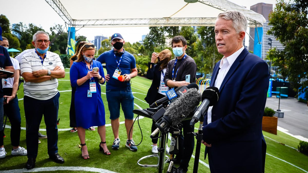 CEO Craig Tiley of Tennis Australia talks during a press conference of Victoria Premier Andrews in Melbourne, Australia, Thursday 04 February 2021. All matches at several Summer Series tournaments and the ATP Cup have been suspended