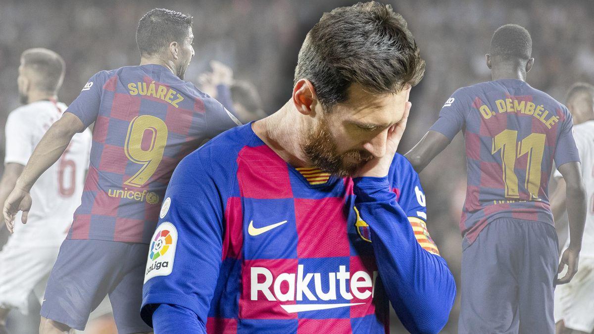 FC Barcelona: Suárez, Messi und Dembélé (v.ln.r.)