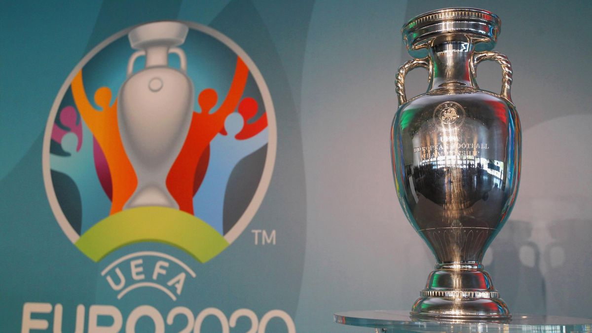 A general view of UEFA Euro Trophy in the Stadio Olinpico during the UEFA Euro Roma 2020 Official Logo unveiling at Palazzo delle Armi on September 22, 2016 in Rome, Italy.
