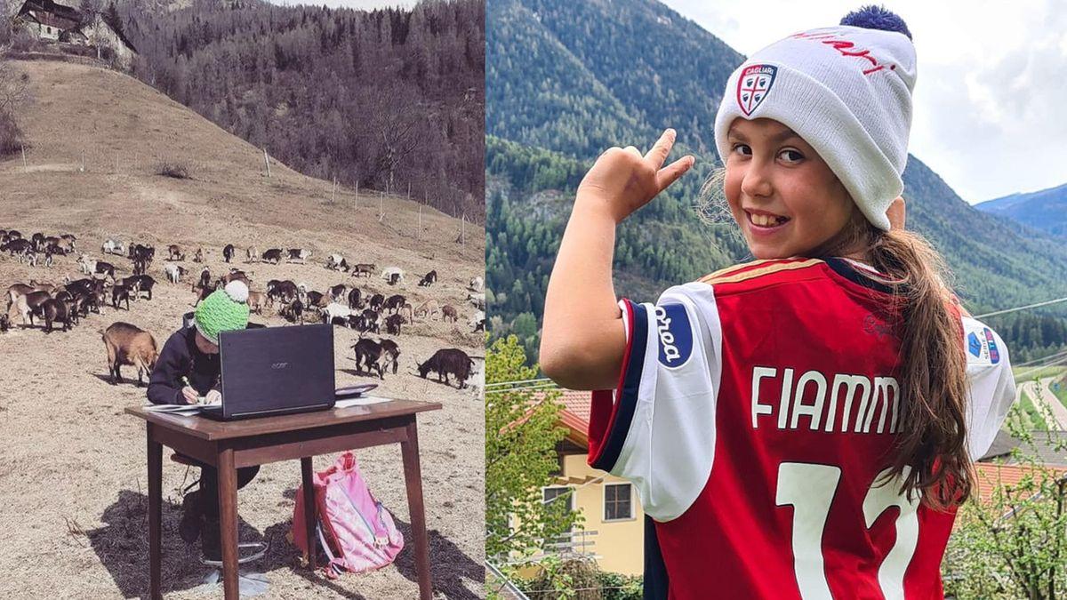 Cagliari: maglia a Fiammetta, la bimba che fa dad tra le capre in Trentino
