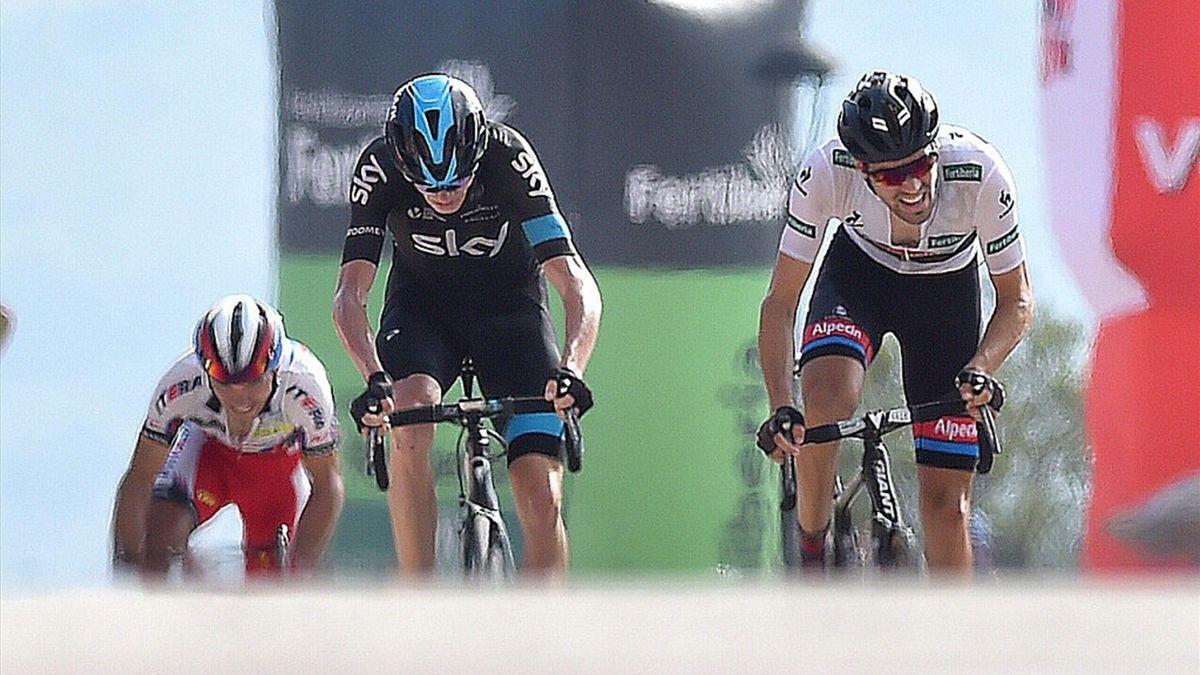 Cycling: 70th Tour of Spain 2015 / Stage 9 Arrival Sprint/ DUMOULIN Tom (NED) White Point Jersey/ FROOME Christopher (GBR)/ RODRIGUEZ Joaquim (ESP)/ Torrevieja - Cumbre del sol. Benitachell (168.3Km) Rit Etappe / Vuelta Tour d'Espagne Ronde van Spanje /(c