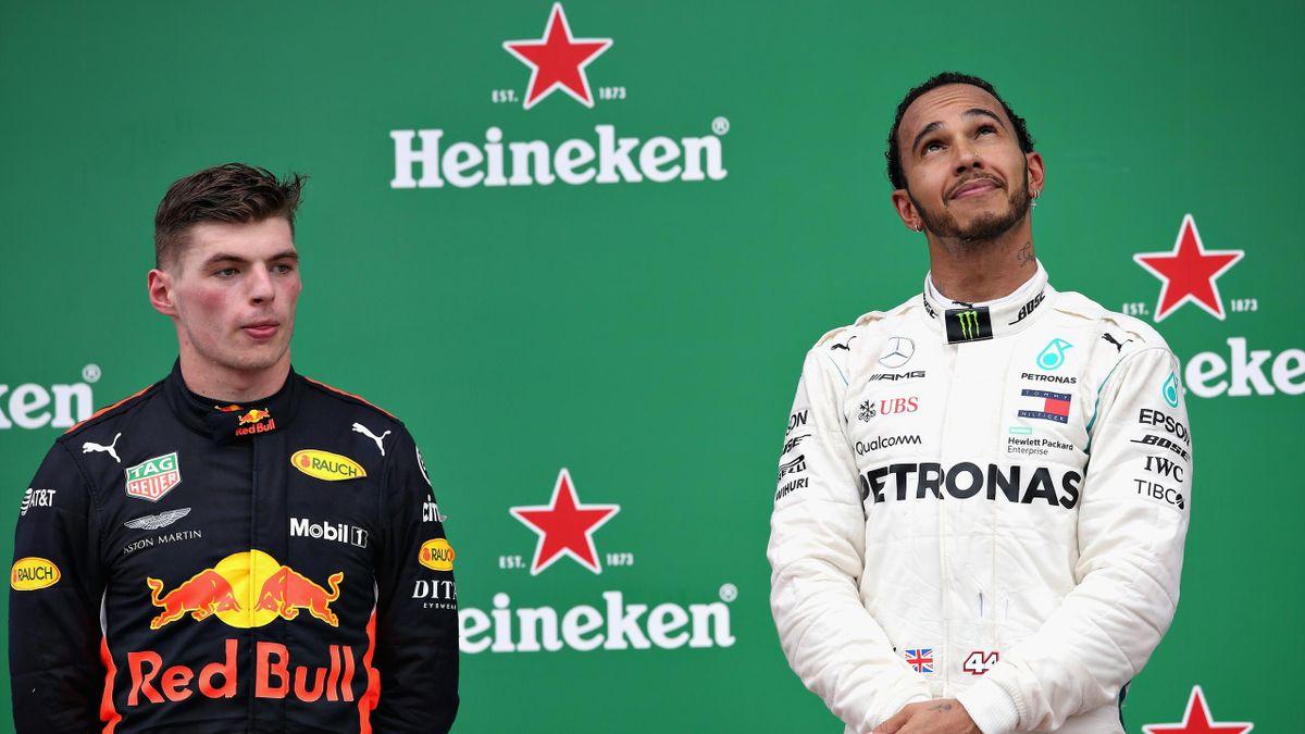 Lewis Hamilton (Mercedes) et Max Verstappen (Red Bull) au Grand Prix du Brésil 2018