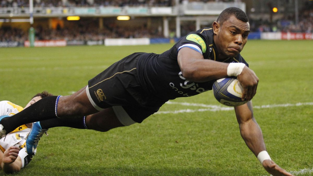 Semesa Rokoduguni of Bath Rugby scores their first try