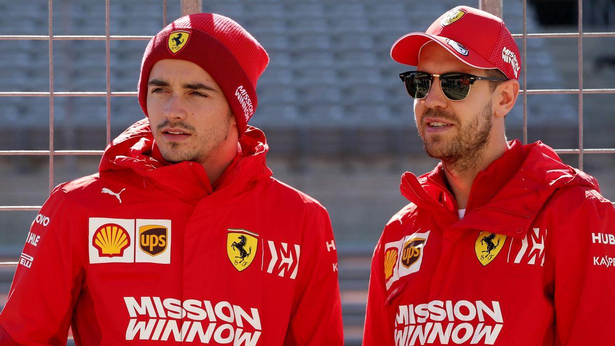 Charles Leclerc (l.) und Sebastian Vettel (r.)
