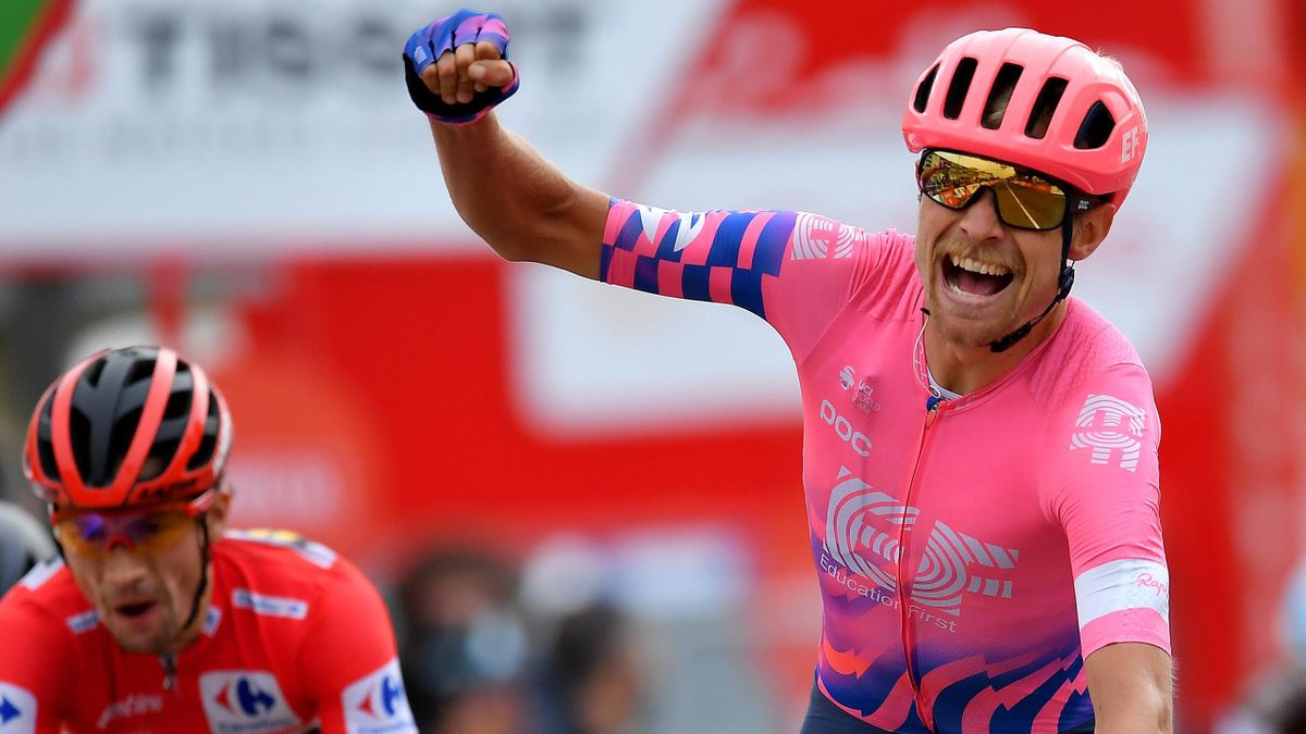 Magnus Cort Nielsen of Denmark and Team EF Pro Cycling / Celebration / during the 75th Tour of Spain 2020, Stage 16 a 162km stage from Salamanca to Ciudad Rodrigo / @lavuelta / #LaVuelta20 / La Vuelta