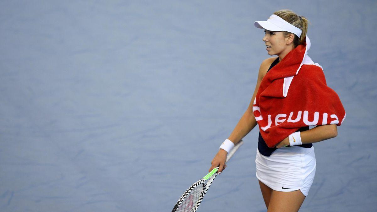 Great Britain's Katie Boulter reacts after her match against Kazakhstan's Yulia Putintseva