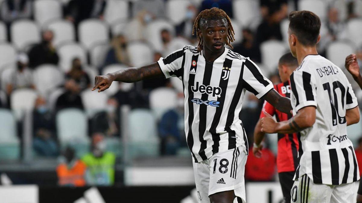 Moise Kean con Dybala durante Juventus-Milan - Serie A 2021/2022