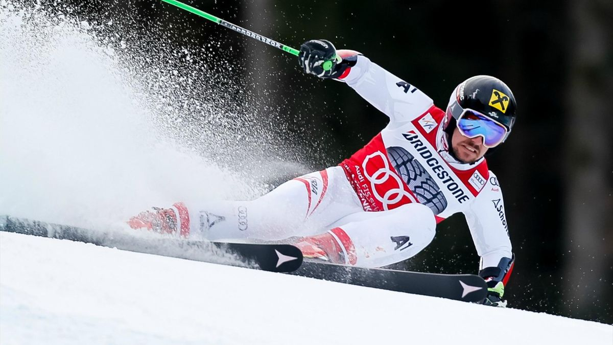 Marcel Hirscher of Austria competes during the Audi FIS Alpine Ski World Cup Men's Giant Slalom on January 28, 2018 in Garmisch-Partenkirchen
