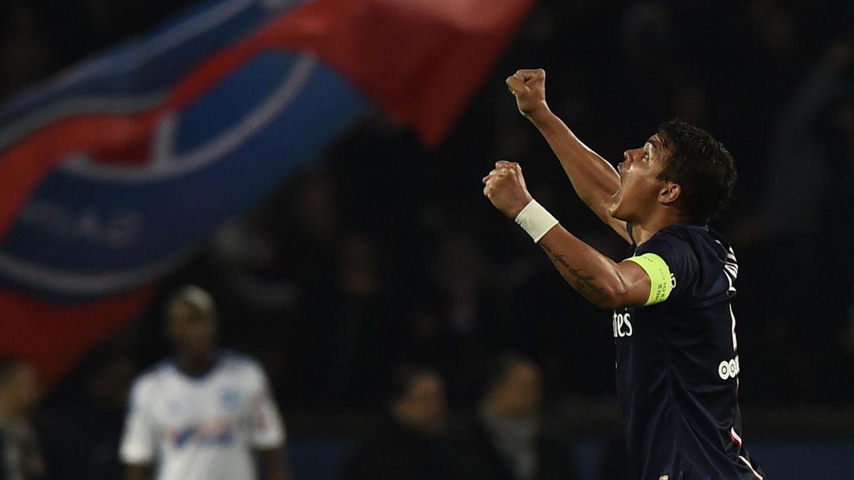 Thiago Silva lors de PSG - Marseille en Ligue 1 2014/2015, le 9 novembre 2014 à Paris