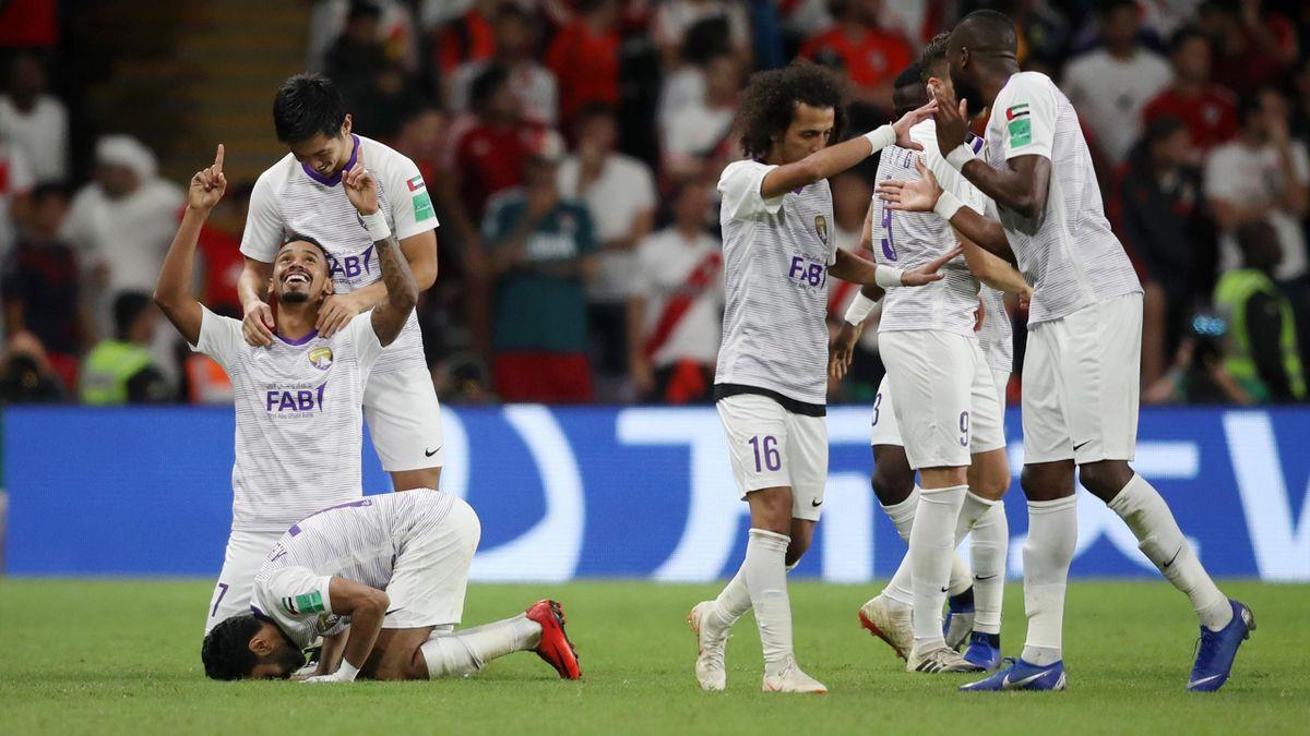 Celebración de los jugadores del Al Ain tras el empate