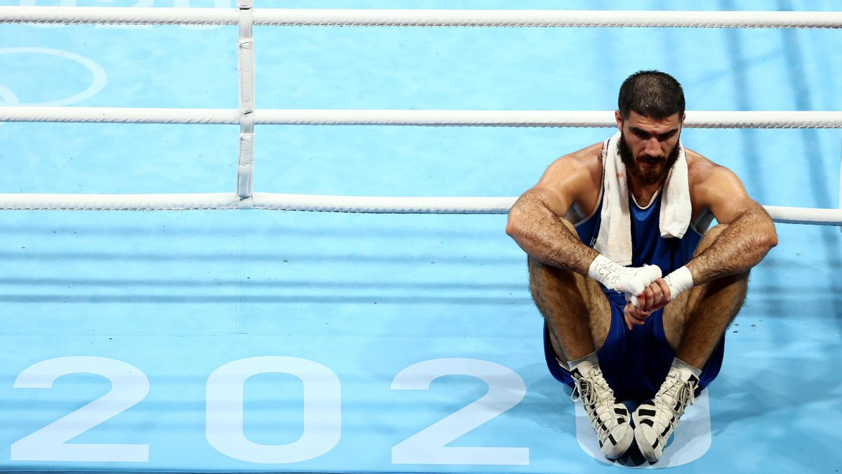 Mourad Aliev of Team France reacts after his fight against Frazer Clarke of Team Great Britain during the Men's Super Heavy (+91kg) quarter final on day nine of the Tokyo 2020 Olympic Games at Kokugikan Arena on August 01, 2021 in Tokyo