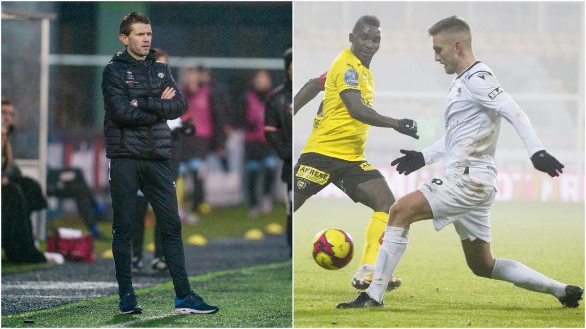 Sogndal-trener Eirik Bakke og nåværende Start-spiller Kristoffer Valsvik.